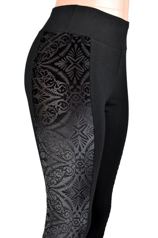 Black Brocade Velvet Side Leggings