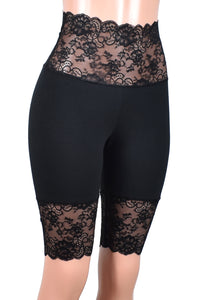 "Knee Length Wide Waistband Black Stretch Lace Shorts (10.5"" inseam)"