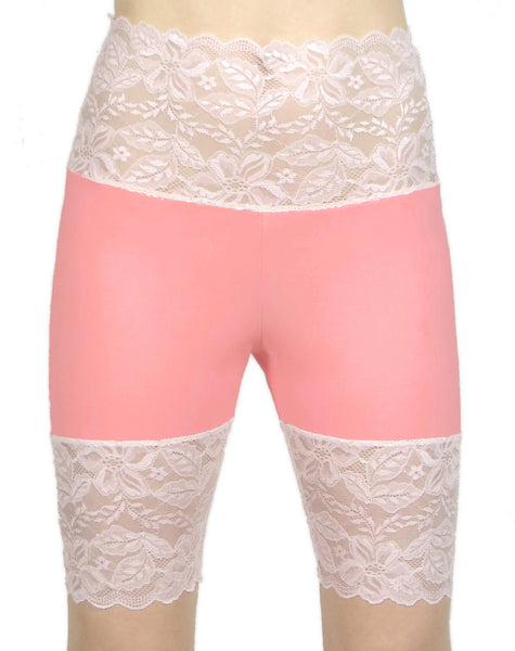 "Coral and Baby Pink Wide Waistband Stretch Lace Shorts (8.5"" inseam)"