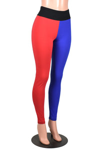 Full Length Blue and Red Cotton Harley Quinn Leggings