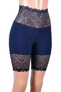"Navy Blue Wide Waistband Stretch Lace Shorts (8.5"" inseam)"
