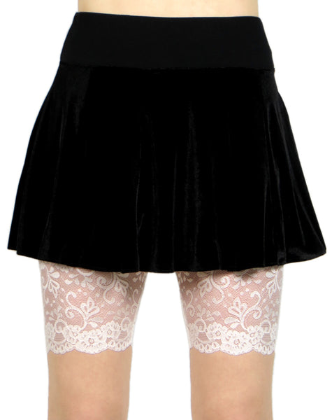 "Ivory or White Wide Waistband Stretch Lace Shorts (8.5"" inseam)"