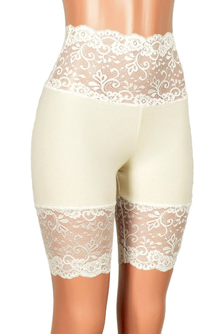 "Ivory and Cream / Off-White Wide Waistband Stretch Lace Shorts (8.5"" inseam)"
