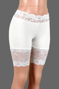 "Ivory or White Stretch Lace Shorts (8.5"" inseam)"