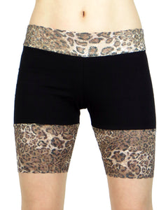 "Leopard and Black Stretch Lace Shorts (8"" inseam)"