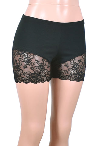 "Black Lace Leg Shorts (3.5"" inseam)"
