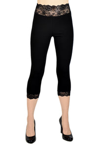 Black Cotton Spandex Lace-Waist Capris