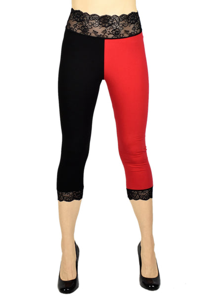 Cotton Black and Red Harley Quinn Capris