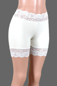 "2.5"" Ivory or White Stretch Lace Shorts (5"" Inseam)"