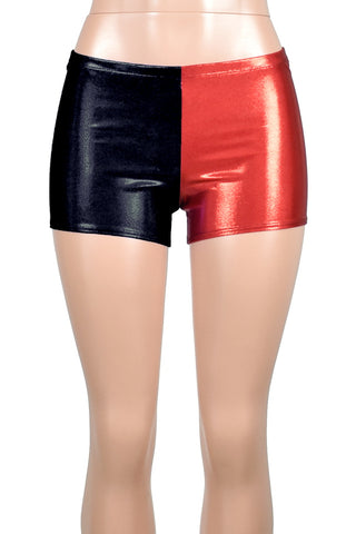 Red and Black Shiny Harley Quinn Shorts