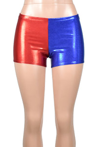 Red and Blue Shiny Harley Quinn Shorts