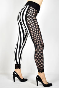 Fishnet Side Black and White Striped Leggings