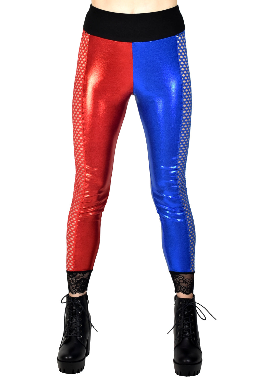 Shiny Fishnet Side Red and Blue Leggings