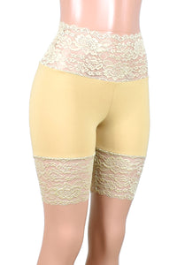 "Nude / Beige / Khaki Wide Waistband Stretch Lace Shorts (8.25"" inseam)"