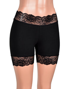 "2.5"" Black Stretch Lace Shorts (5"" inseam)"