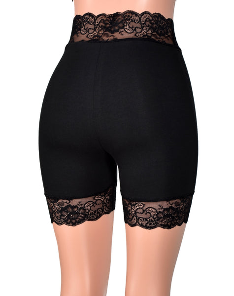"2.5"" High-Waisted Black Stretch Lace Shorts (5"" inseam)"