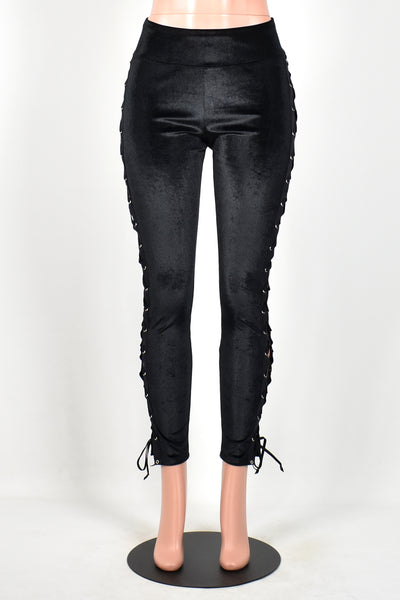 Black Velvet Lace-Up Leggings