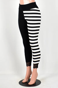 Black and Horizontal Striped Split Leggings
