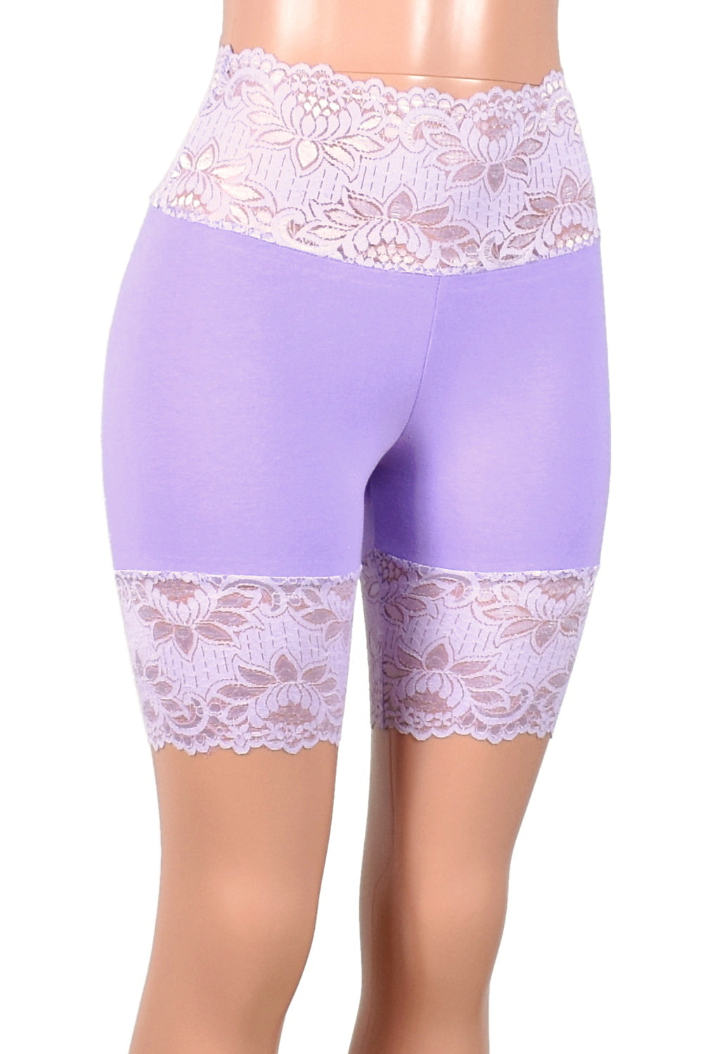 "Wide Waistband Lavender Stretch Lace Shorts (8"" Inseam)"