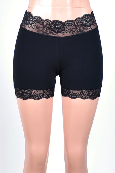 "1.5"" Black Stretch Lace Shorts (4"" inseam)"