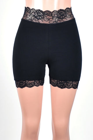 "1.5"" High-Waisted Black Stretch Lace Shorts (4"" inseam)"