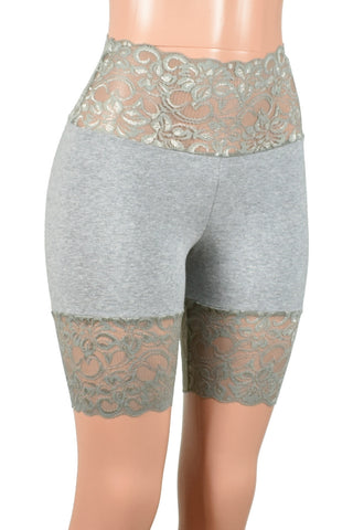 "Gray Wide Waistband Stretch Lace Shorts (8"" inseam)"