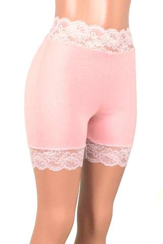 "2.5"" Light Pink High-Waisted Black Stretch Lace Shorts (5"" inseam)"