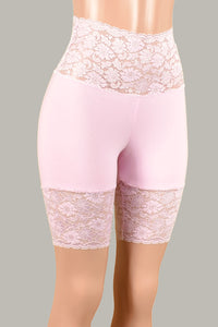 "Pastel Pink Wide Waistband Stretch Lace Shorts (8.5"" Inseam)"