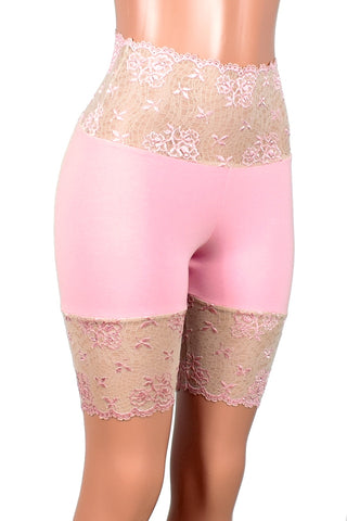"Light Pink and Nude Wide Waistband Stretch Lace Shorts (8.5"" inseam)"