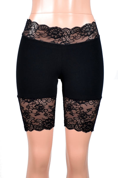 "Black Grommet Stretch Lace Shorts (8.5"" inseam)"