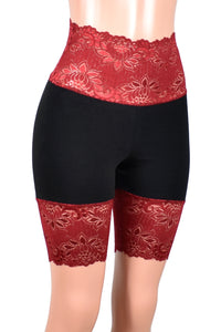 "Black and Dark Red Wide Waistband High-Waisted Stretch Lace Shorts (8.5"" inseam)"