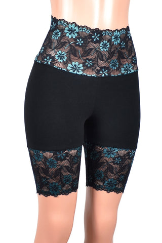 "Black and Turquoise Wide Waistband High-Waisted Stretch Lace Shorts (8.5"" inseam)"