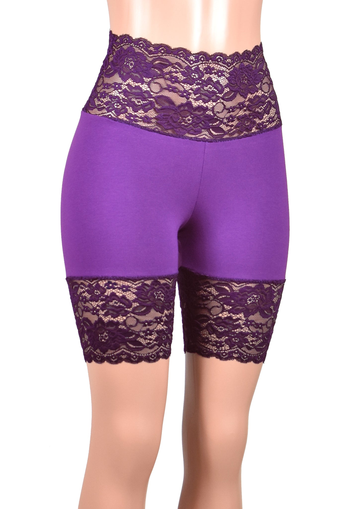 "Purple Wide Waistband Stretch Lace Shorts (8.5"" inseam)"