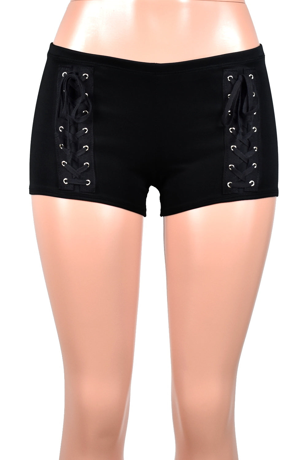 Black Lace-Up Front Shorts
