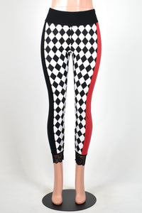 Black, White, and Red Diamond Print Leggings