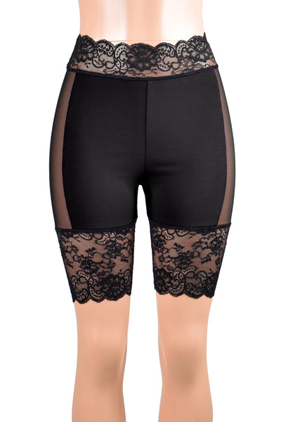 "Black Cotton and Mesh Stretch Lace Shorts (8.5"" inseam)"