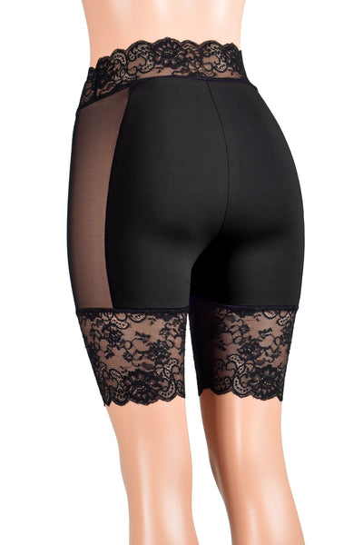 "Black Cotton and Mesh Stretch Lace Shorts (8.5"" inseam/Four colors available)"