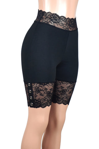 "High-Waisted Black Grommet Stretch Lace Shorts (8.5"" inseam)"
