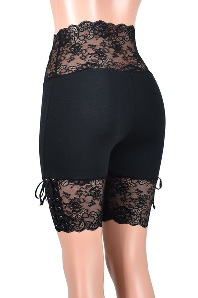 "Wide Waistband Black Lace-Up Stretch Lace Shorts (8.5"" inseam)"