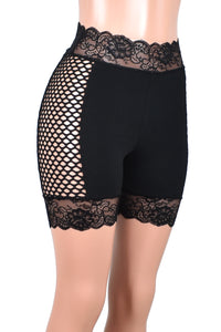 "High-Waisted Cabaret Fishnet Side Black Stretch Lace Shorts (5"" inseam)"