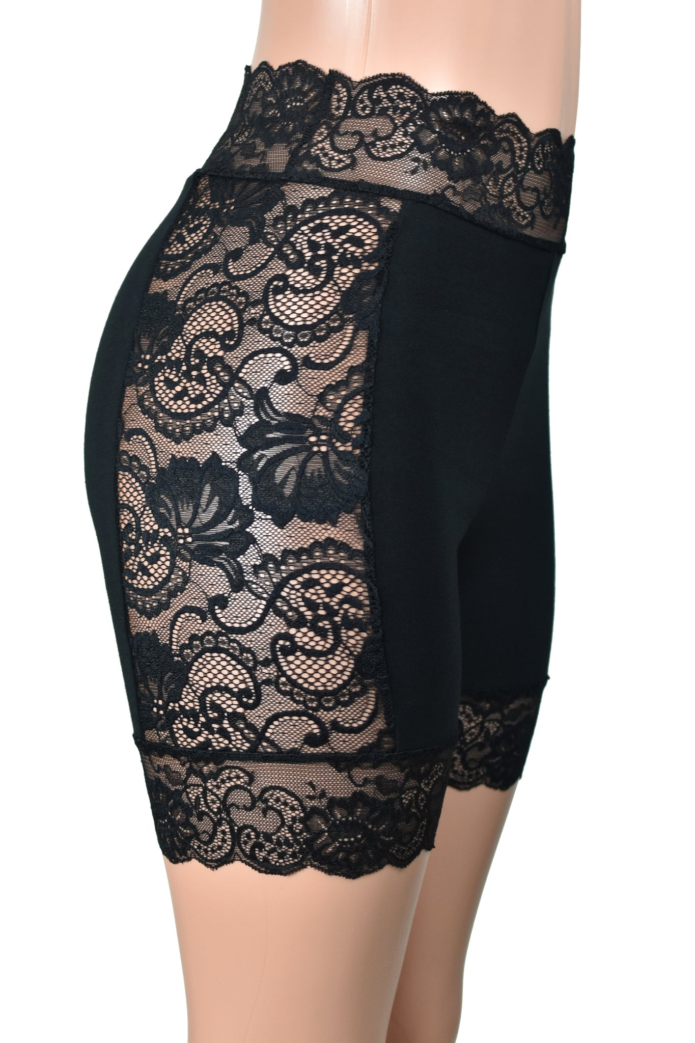 "High-Waisted Lace Side Black Stretch Lace Shorts (5"" inseam)"