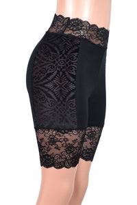 These black high-waisted shorts have a stretch lace waistband. The side panels are made out of sheer brocade velvet burnout stretch fabric. Wear them under skirts, dresses, or shorts for extra leg coverage.