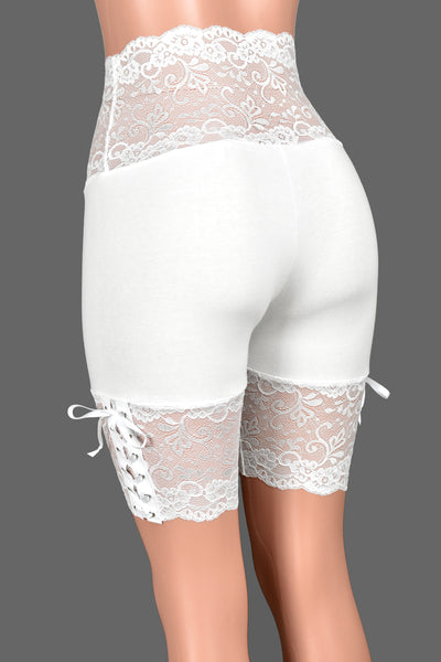 "White Lace-Up Stretch Lace Shorts (8.5"" inseam)"