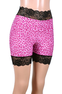 "High-Waisted Pink Leopard Print Stretch Lace Shorts (5"" inseam)"