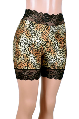 "High-Waisted Leopard Print Stretch Lace Shorts (5"" inseam)"