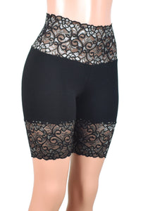 "Black and Silver Wide Waistband High-Waisted Stretch Lace Shorts (8"" inseam)"