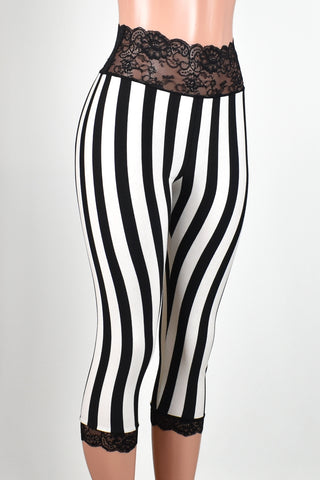 Black and White Vertical Striped Lace-Waist Capris