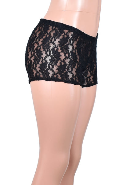 Sheer Black Stretch Lace Shorts