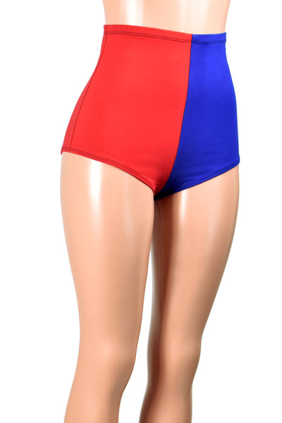 High-Waisted Red and Blue Cotton Harley Quinn Booty Shorts
