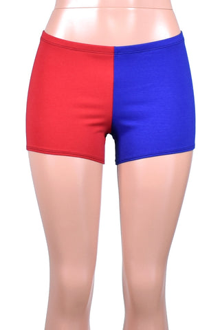 Red and Blue Cotton Harley Quinn Shorts